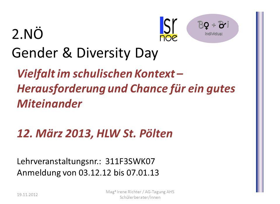 2.NÖ Gender & Diversity Day Vielfalt im schulischen Kontext – Herausforderung und Chance für ein gutes Miteinander 12. März 2013, HLW St. Pölten Lehrv