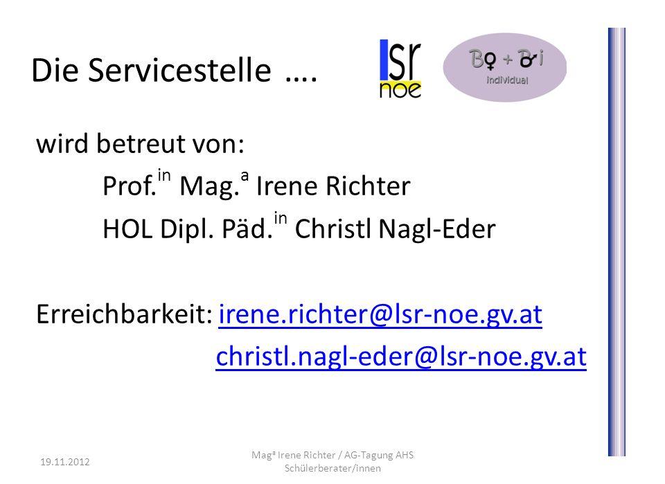 wird betreut von: Prof. in Mag. a Irene Richter HOL Dipl. Päd. in Christl Nagl-Eder Erreichbarkeit: irene.richter@lsr-noe.gv.atirene.richter@lsr-noe.g