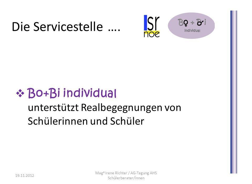 Die Servicestelle …. Bo+Bi individual unterstützt Realbegegnungen von Schülerinnen und Schüler 19.11.2012 Mag a Irene Richter / AG-Tagung AHS Schülerb