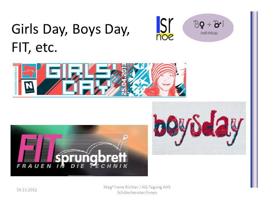Girls Day, Boys Day, FIT, etc. 19.11.2012 Mag a Irene Richter / AG-Tagung AHS Schülerberater/innen