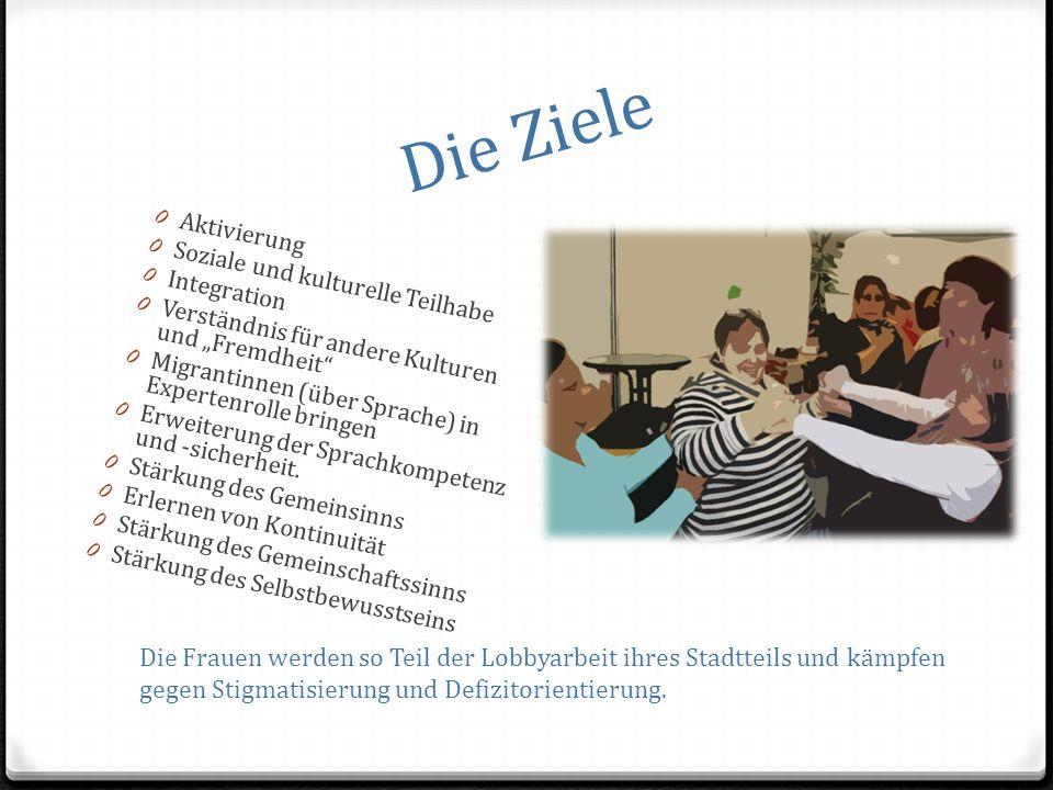 Die Ziele 0 Aktivierung 0 Soziale und kulturelle Teilhabe 0 Integration 0 Verständnis für andere Kulturen und Fremdheit 0 Migrantinnen (über Sprache) in Expertenrolle bringen 0 Erweiterung der Sprachkompetenz und -sicherheit.