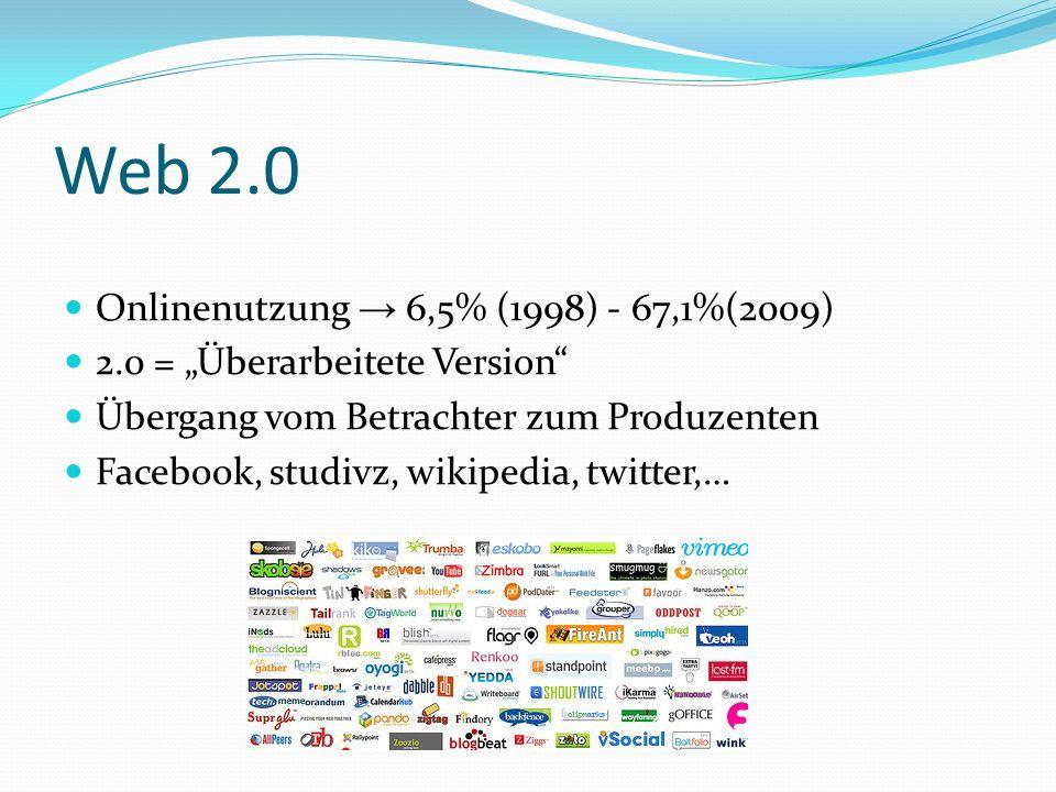 Web 2.0 Onlinenutzung 6,5% (1998) - 67,1%(2009) 2.0 = Überarbeitete Version Übergang vom Betrachter zum Produzenten Facebook, studivz, wikipedia, twit