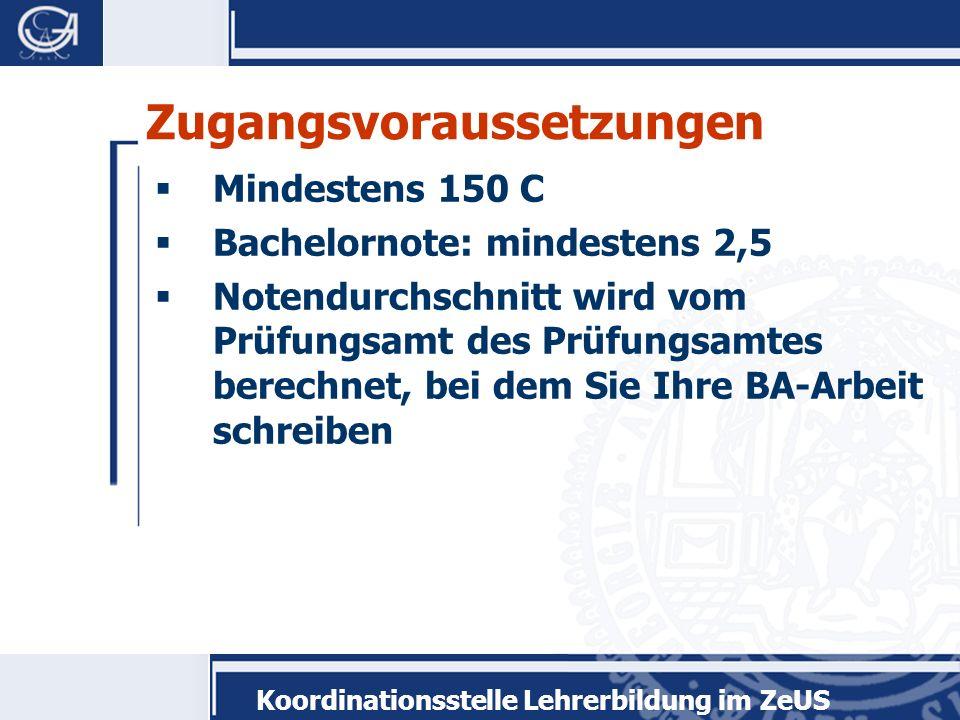 Koordinationsstelle Lehrerbildung im ZeUS Allgemeine Hinweise 1.Die Module können in beliebiger Reihenfolge belegt werden.