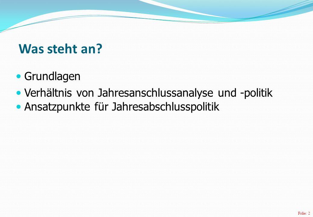 Folie: 2 Grundlagen Verhältnis von Jahresanschlussanalyse und -politik Ansatzpunkte für Jahresabschlusspolitik Was steht an?