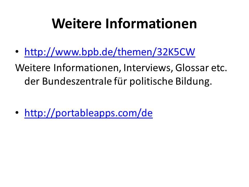 Weitere Informationen http://www.bpb.de/themen/32K5CW Weitere Informationen, Interviews, Glossar etc. der Bundeszentrale für politische Bildung. http: