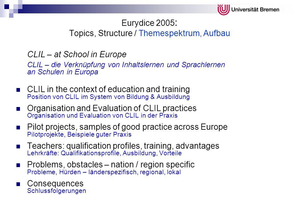 Eurydice 2005 : Topics, Structure / Themespektrum, Aufbau CLIL – at School in Europe CLIL – die Verknüpfung von Inhaltslernen und Sprachlernen an Schu