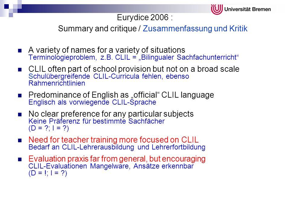 Eurydice 2006 : Summary and critique / Zusammenfassung und Kritik A variety of names for a variety of situations Terminologieproblem, z.B. CLIL = Bili