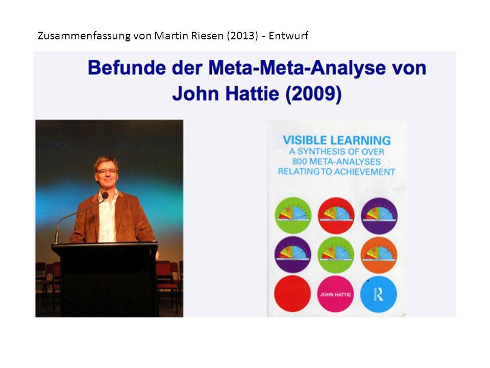 Was ist eine Meta-Meta-Analyse Meta-Analyse: Zusammenfassung vieler Studien Meta-Meta-Analyse: Zusammenfassung vieler Meta- Analysen Ziel: Mittelung der Effektstärken Wie stark wirkt (im Mittel) Einflussgrösse A auf den Outcome B.