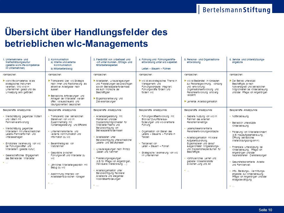 Seite 10 Übersicht über Handlungsfelder des betrieblichen wlc-Managements 1.