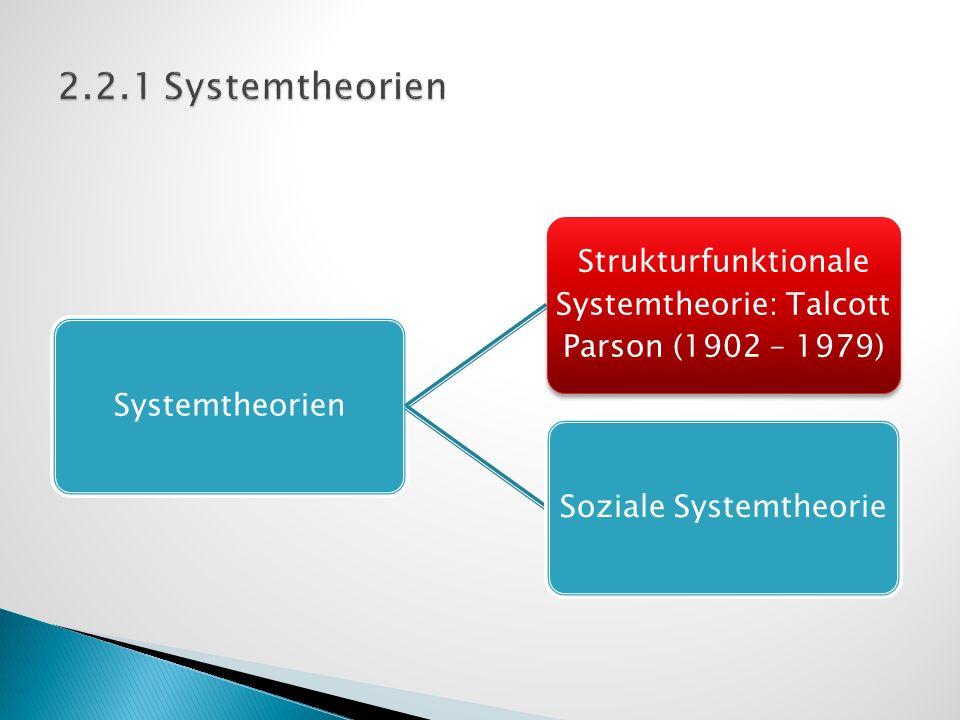 Systemtheorien Strukturfunktionale Systemtheorie: Talcott Parson (1902 – 1979) Soziale Systemtheorie