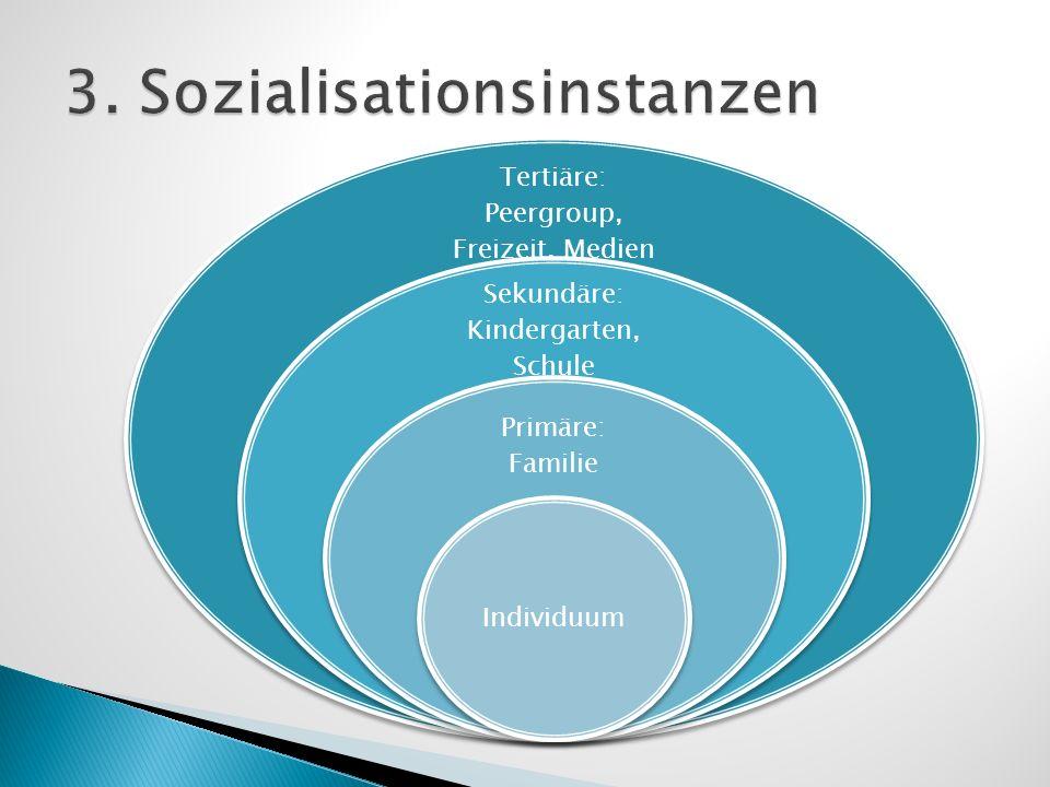 Tertiäre: Peergroup, Freizeit, Medien Sekundäre: Kindergarten, Schule Primäre: Familie Individuum