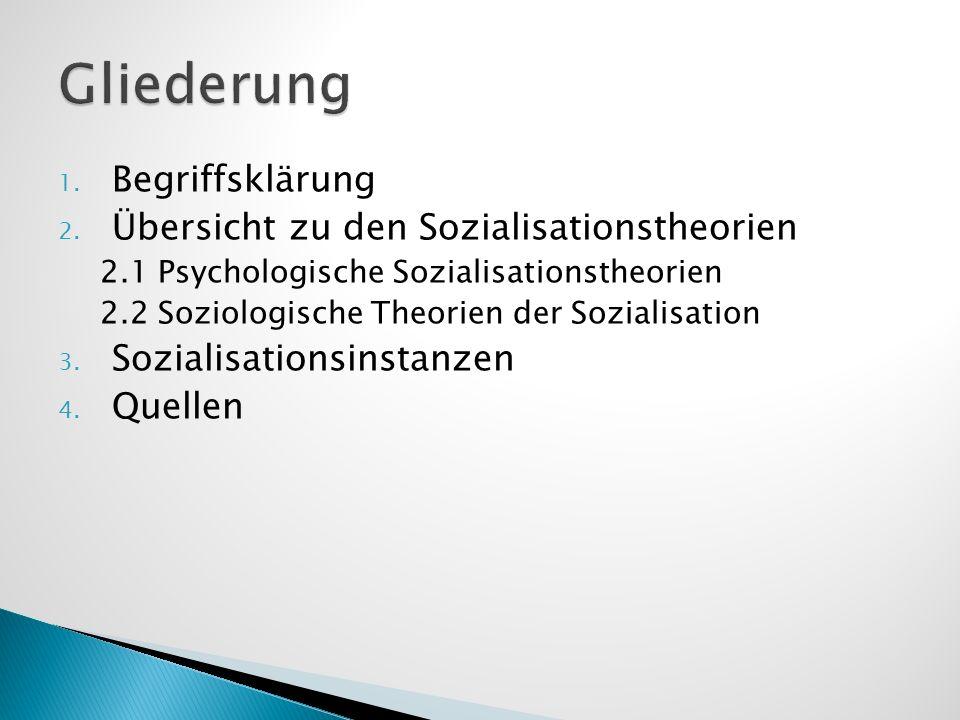 1. Begriffsklärung 2. Übersicht zu den Sozialisationstheorien 2.1 Psychologische Sozialisationstheorien 2.2 Soziologische Theorien der Sozialisation 3