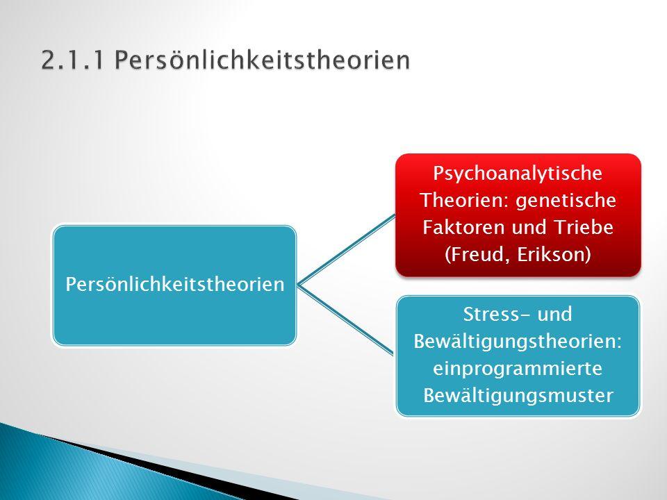 Persönlichkeitstheorien Psychoanalytische Theorien: genetische Faktoren und Triebe (Freud, Erikson) Stress- und Bewältigungstheorien: einprogrammierte