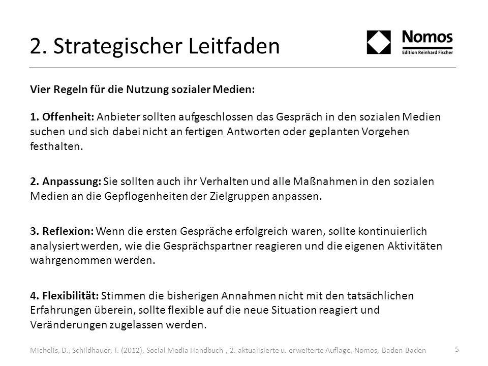 2. Strategischer Leitfaden Vier Regeln für die Nutzung sozialer Medien: 1. Offenheit: Anbieter sollten aufgeschlossen das Gespräch in den sozialen Med