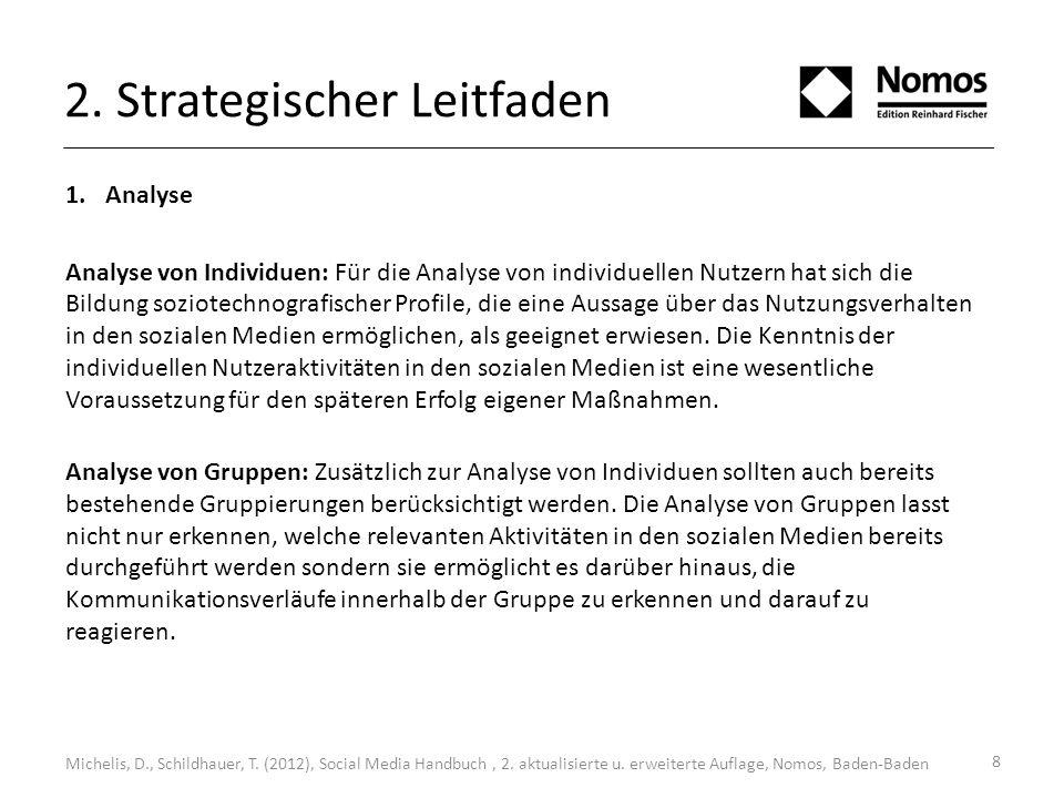 2. Strategischer Leitfaden 1.Analyse Analyse von Individuen: Für die Analyse von individuellen Nutzern hat sich die Bildung soziotechnografischer Prof
