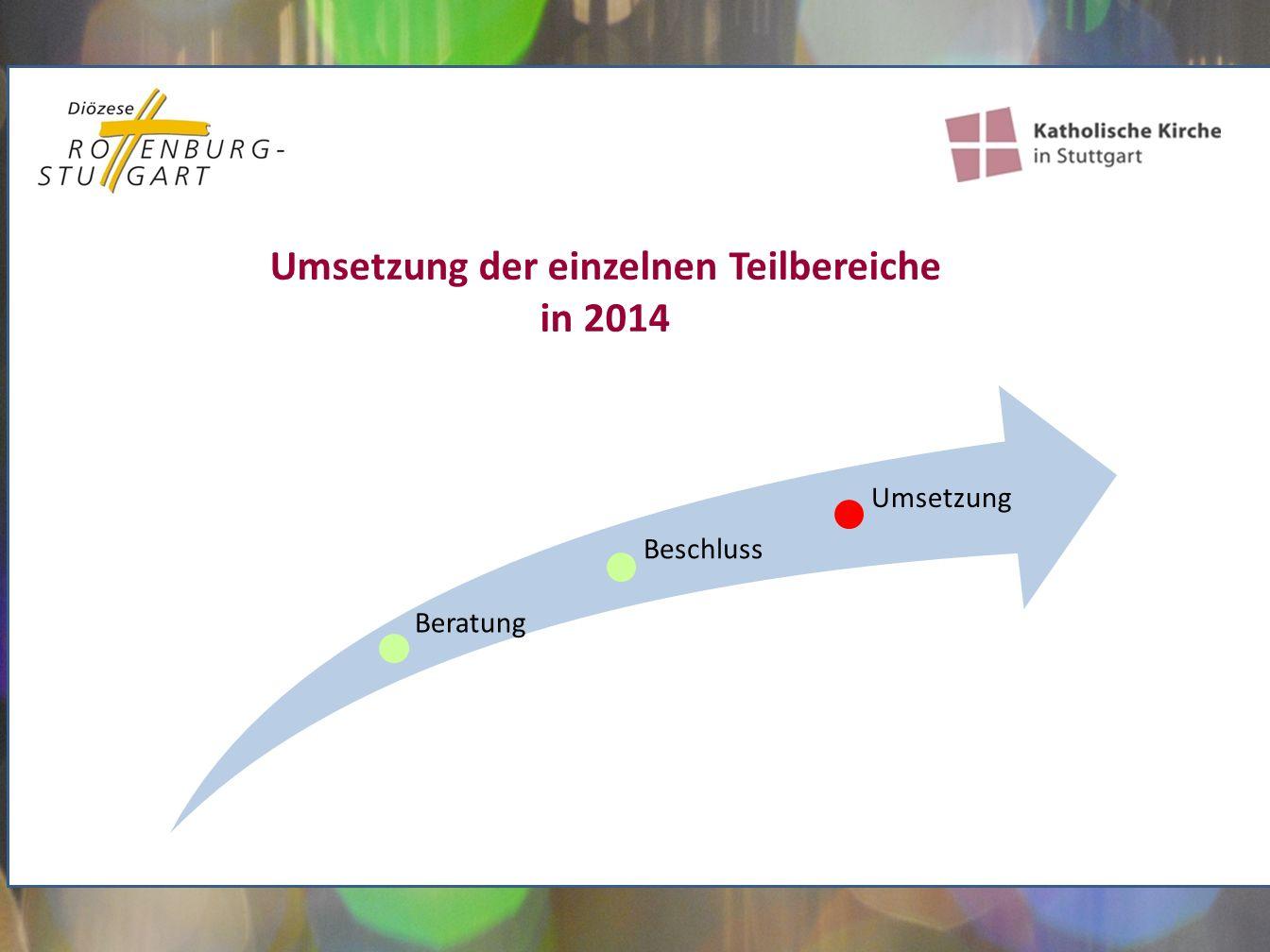 Umsetzung der einzelnen Teilbereiche in 2014 Umsetzung Beratung Beschluss