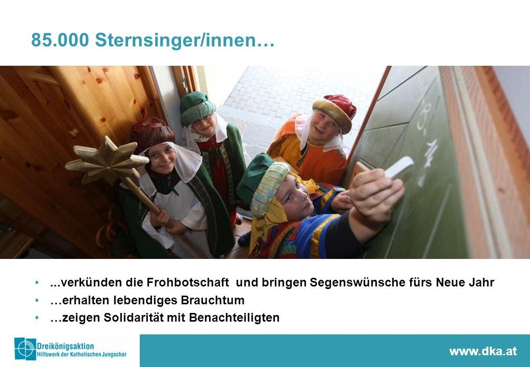 85.000 Sternsinger/innen…...verkünden die Frohbotschaft und bringen Segenswünsche fürs Neue Jahr …erhalten lebendiges Brauchtum …zeigen Solidarität mi