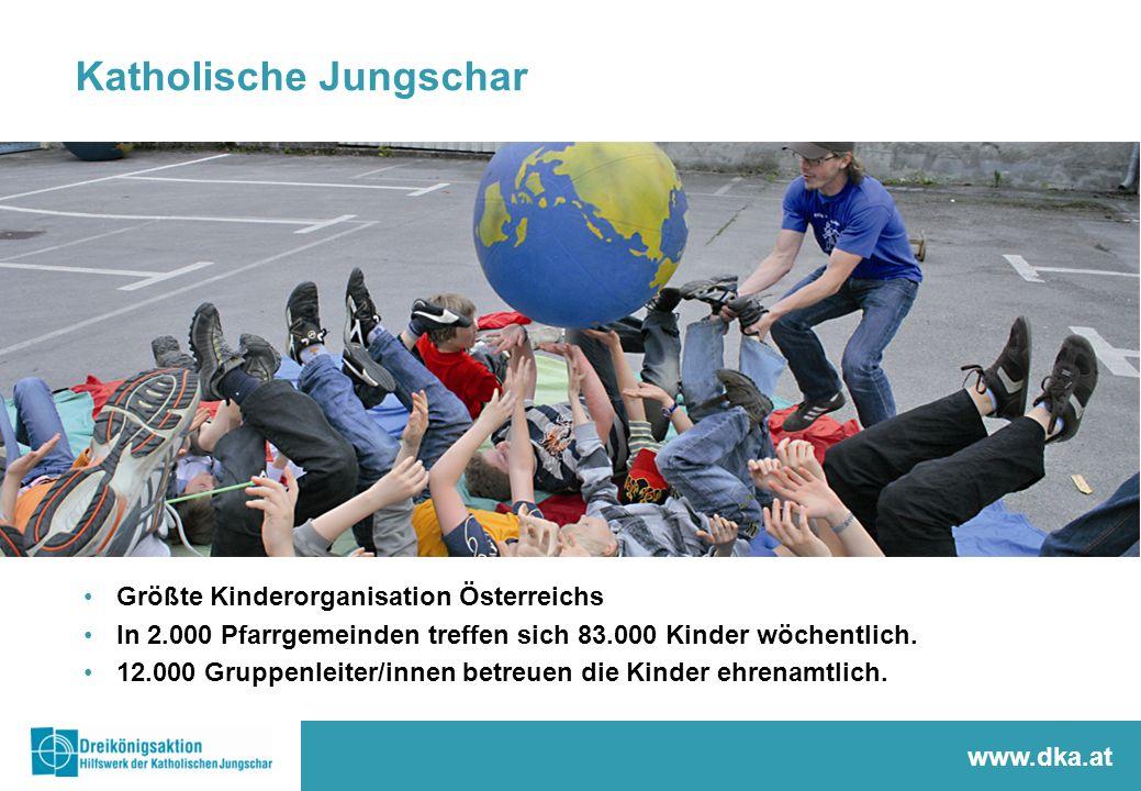 Katholische Jungschar www.dka.at Größte Kinderorganisation Österreichs In 2.000 Pfarrgemeinden treffen sich 83.000 Kinder wöchentlich. 12.000 Gruppenl