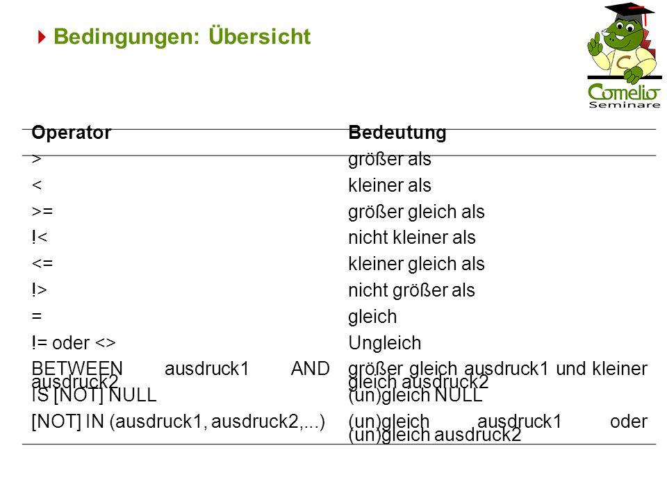 Bedingungen: Übersicht OperatorBedeutung >größer als <kleiner als >=größer gleich als !<nicht kleiner als <=kleiner gleich als !>nicht größer als =gle