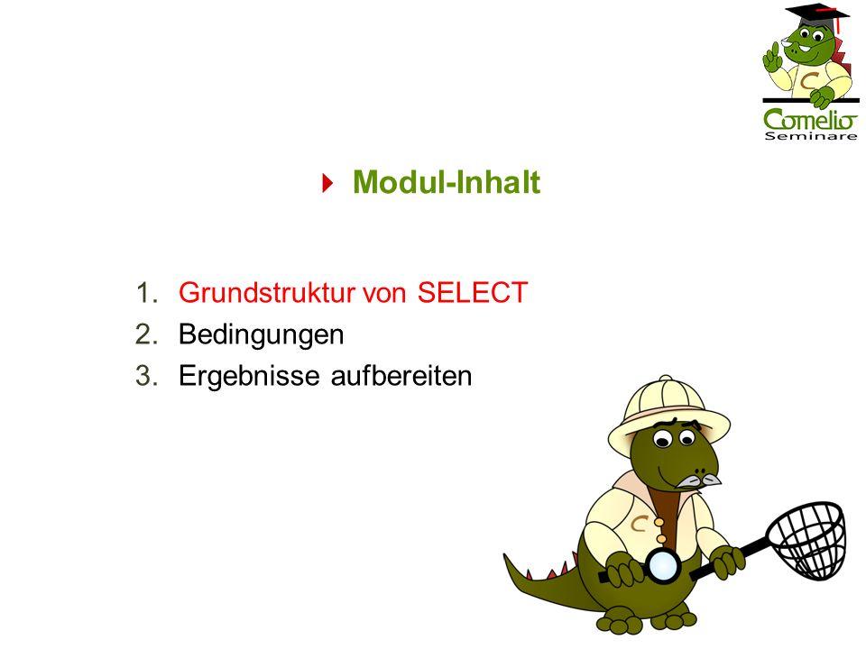Grundstruktur von SELECT: Allgemeine Syntax Die SELECT-Anweisung besteht mindestens aus einer Spaltenliste und der FROM-Klausel mit wenigstens einem Tabellen-Verweis.