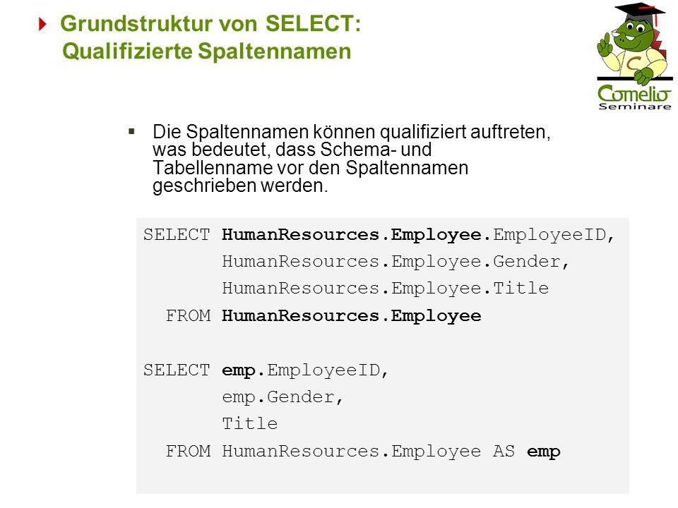 Grundstruktur von SELECT: Qualifizierte Spaltennamen Die Spaltennamen können qualifiziert auftreten, was bedeutet, dass Schema- und Tabellenname vor d