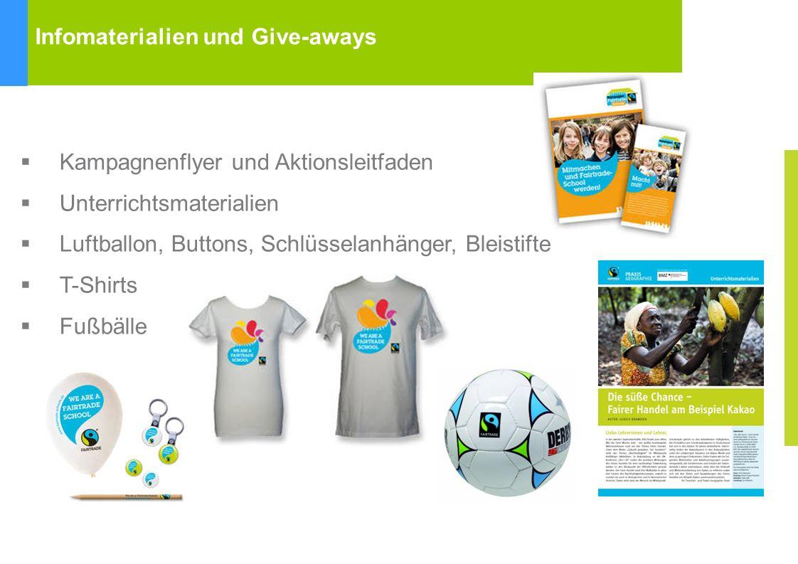 Infomaterialien und Give-aways Kampagnenflyer und Aktionsleitfaden Unterrichtsmaterialien Luftballon, Buttons, Schlüsselanhänger, Bleistifte T-Shirts