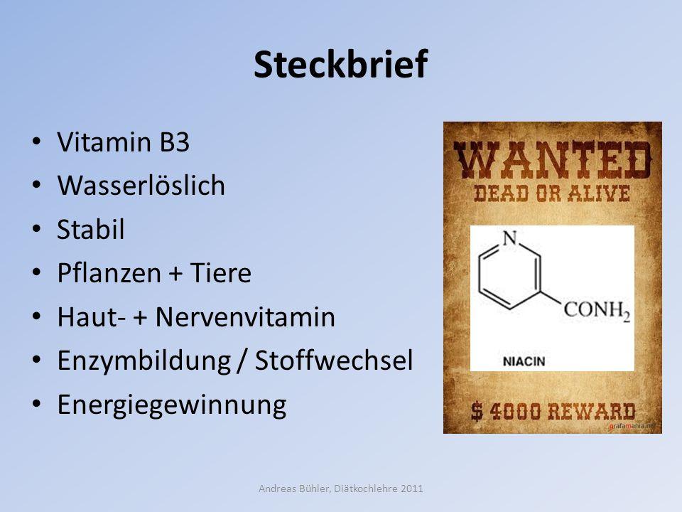 Steckbrief Vitamin B3 Wasserlöslich Stabil Pflanzen + Tiere Haut- + Nervenvitamin Enzymbildung / Stoffwechsel Energiegewinnung Andreas Bühler, Diätkoc