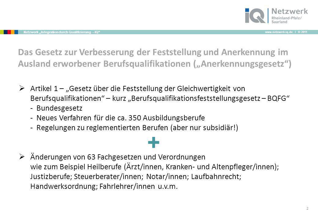 www.netzwerk-iq.de I © 2011 Netzwerk Integration durch Qualifizierung – IQ 2 Das Gesetz zur Verbesserung der Feststellung und Anerkennung im Ausland e