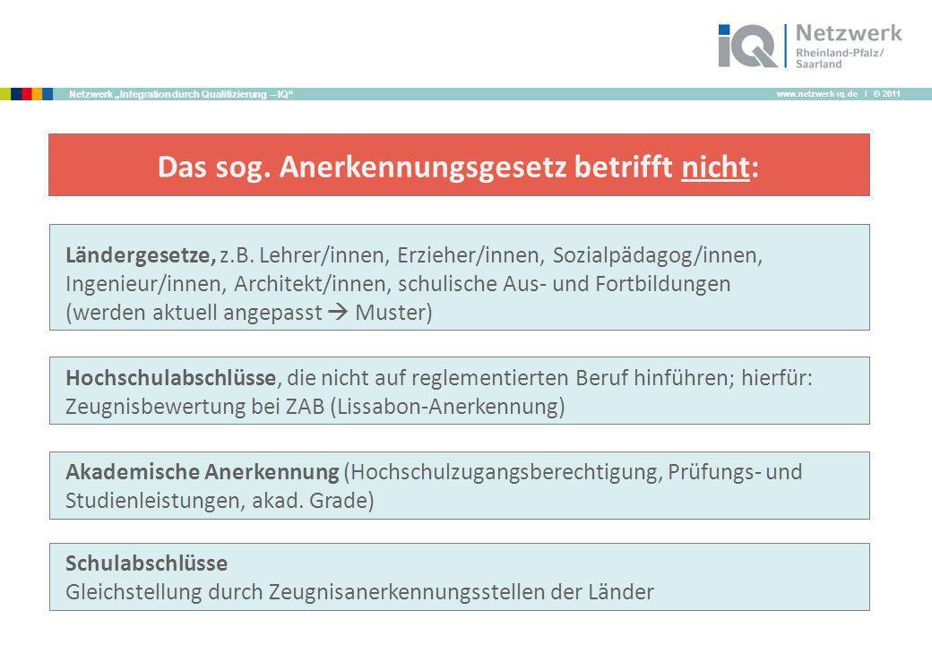 www.netzwerk-iq.de I © 2011 Netzwerk Integration durch Qualifizierung – IQ Ländergesetze, z.B. Lehrer/innen, Erzieher/innen, Sozialpädagog/innen, Inge