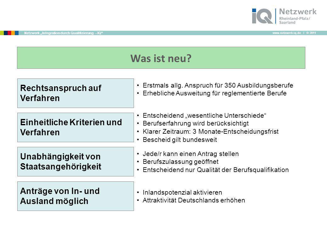 www.netzwerk-iq.de I © 2011 Netzwerk Integration durch Qualifizierung – IQ Was ist neu? Rechtsanspruch auf Verfahren Einheitliche Kriterien und Verfah