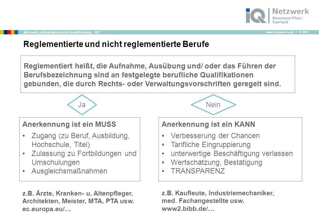 www.netzwerk-iq.de I © 2011 Netzwerk Integration durch Qualifizierung – IQ Reglementierte und nicht reglementierte Berufe Reglementiert heißt, die Auf