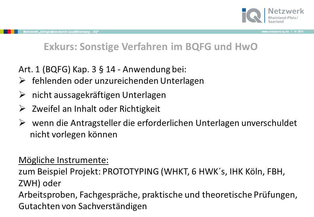 www.netzwerk-iq.de I © 2011 Netzwerk Integration durch Qualifizierung – IQ Exkurs: Sonstige Verfahren im BQFG und HwO Art. 1 (BQFG) Kap. 3 § 14 - Anwe