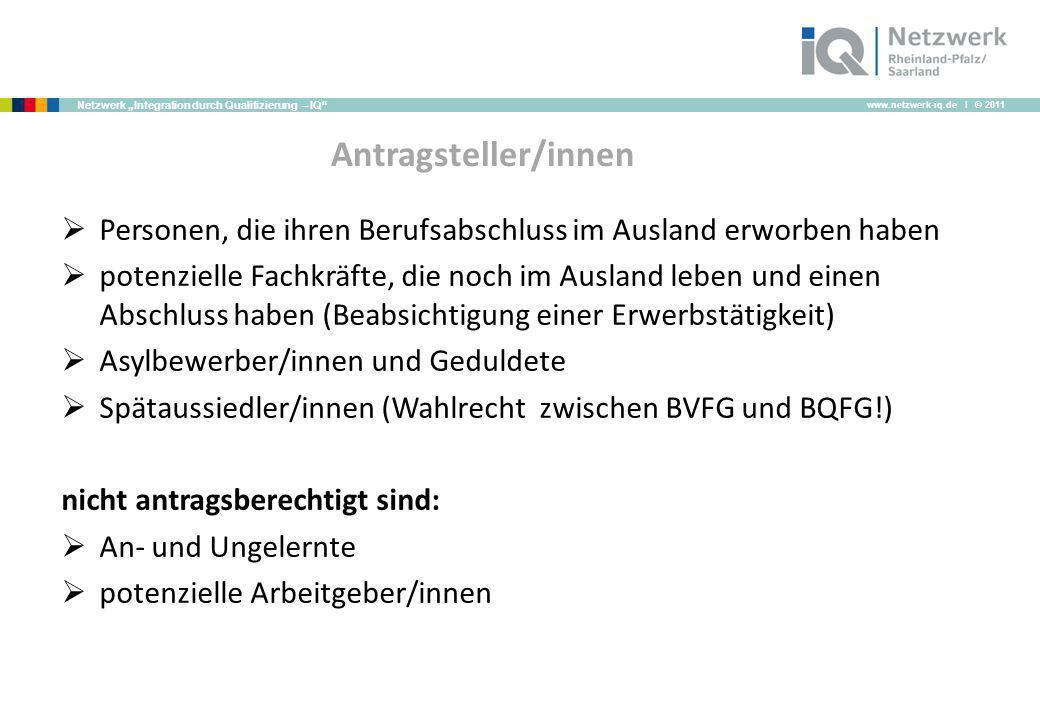 www.netzwerk-iq.de I © 2011 Netzwerk Integration durch Qualifizierung – IQ Antragsteller/innen Personen, die ihren Berufsabschluss im Ausland erworben