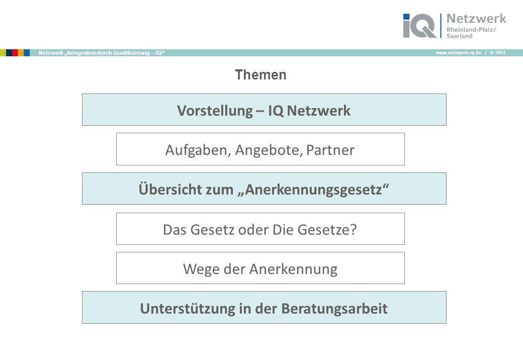 www.netzwerk-iq.de I © 2011 Netzwerk Integration durch Qualifizierung – IQ Themen Das Gesetz oder Die Gesetze? Wege der Anerkennung Unterstützung in d