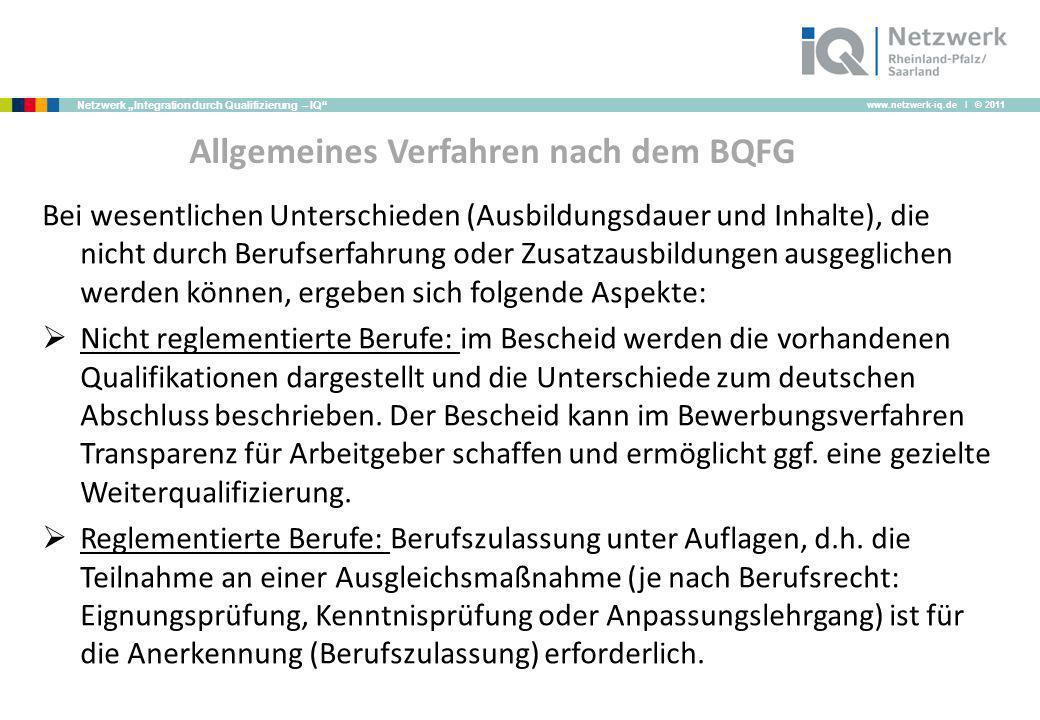 www.netzwerk-iq.de I © 2011 Netzwerk Integration durch Qualifizierung – IQ Allgemeines Verfahren nach dem BQFG Bei wesentlichen Unterschieden (Ausbild