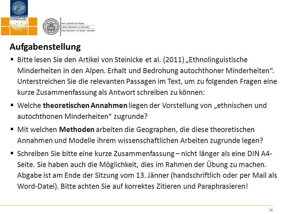 25 Aufgabenstellung Bitte lesen Sie den Artikel von Steinicke et al. (2011) Ethnolinguistische Minderheiten in den Alpen. Erhalt und Bedrohung autocht