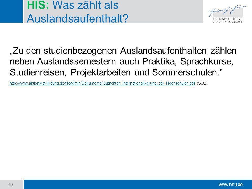 www.hhu.de HIS: Was zählt als Auslandsaufenthalt? Zu den studienbezogenen Auslandsaufenthalten zählen neben Auslandssemestern auch Praktika, Sprachkur