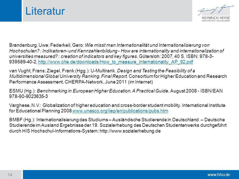 www.hhu.de Literatur Brandenburg, Uwe; Federkeil, Gero: Wie misst man Internationalität und Internationalisierung von Hochschulen? : Indikatoren- und