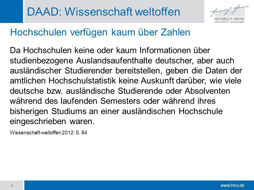 www.hhu.de DAAD: Wissenschaft weltoffen Da Hochschulen keine oder kaum Informationen über studienbezogene Auslandsaufenthalte deutscher, aber auch aus