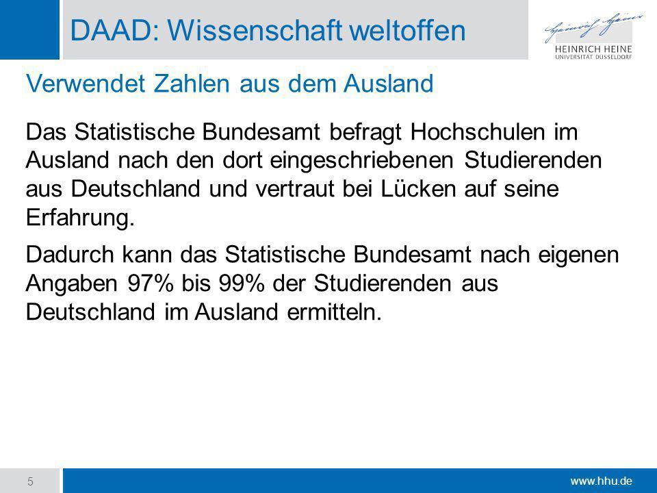 www.hhu.de DAAD: Wissenschaft weltoffen Das Statistische Bundesamt befragt Hochschulen im Ausland nach den dort eingeschriebenen Studierenden aus Deut