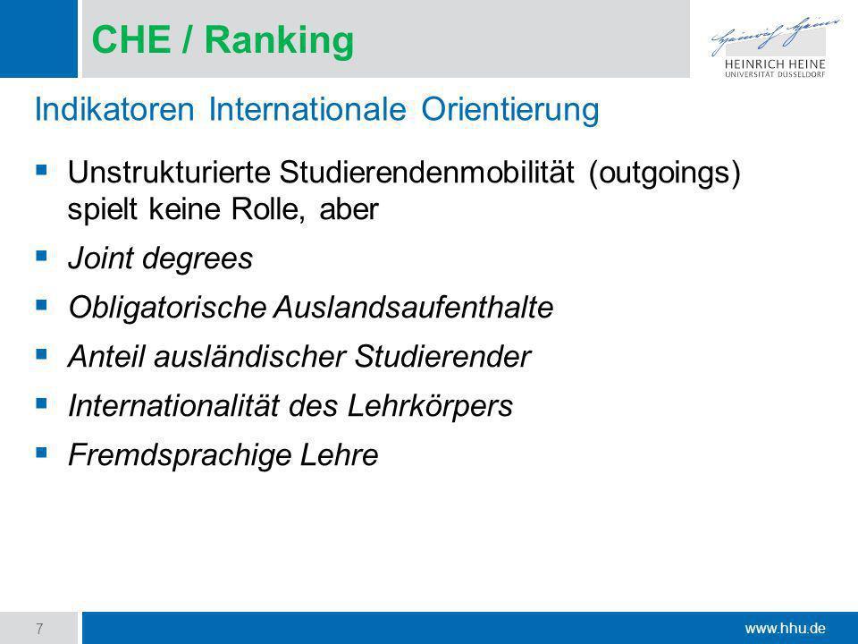 www.hhu.de CHE / Ranking Unstrukturierte Studierendenmobilität (outgoings) spielt keine Rolle, aber Joint degrees Obligatorische Auslandsaufenthalte A