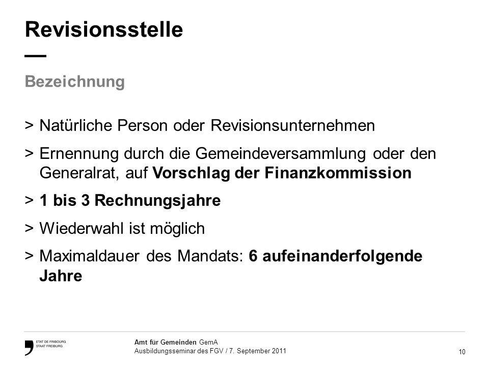 10 Amt für Gemeinden GemA Ausbildungsseminar des FGV / 7.