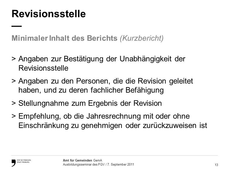 13 Amt für Gemeinden GemA Ausbildungsseminar des FGV / 7.