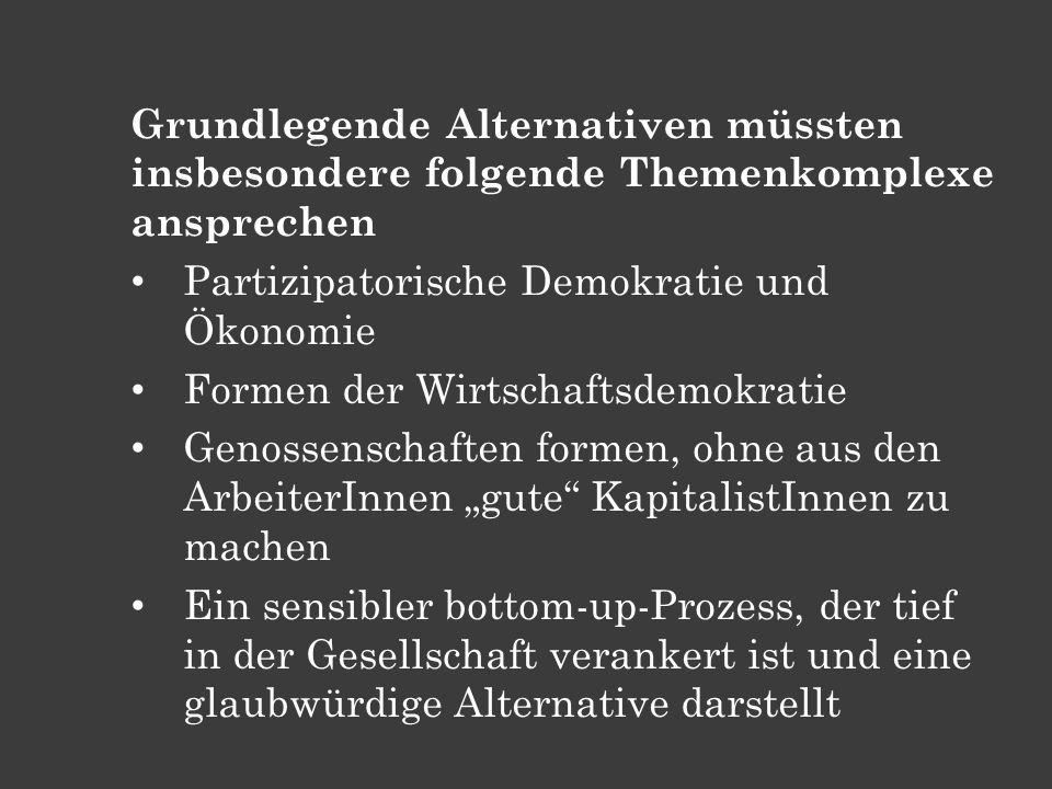 Grundlegende Alternativen müssten insbesondere folgende Themenkomplexe ansprechen Partizipatorische Demokratie und Ökonomie Formen der Wirtschaftsdemo