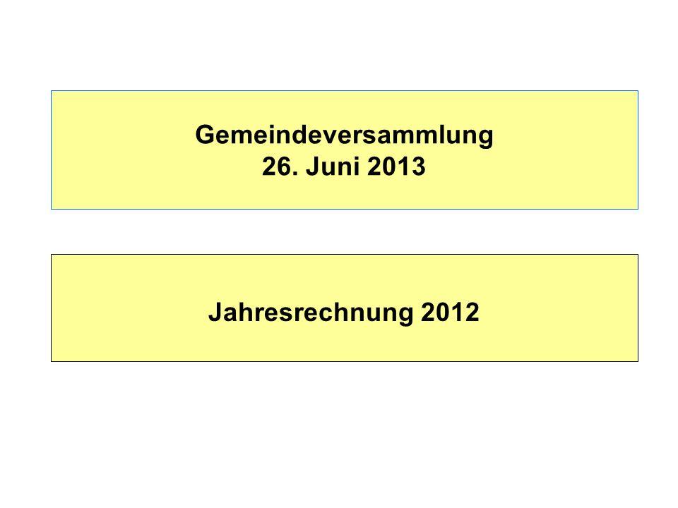 Gemeindeversammlung 26. Juni 2013 Jahresrechnung 2012