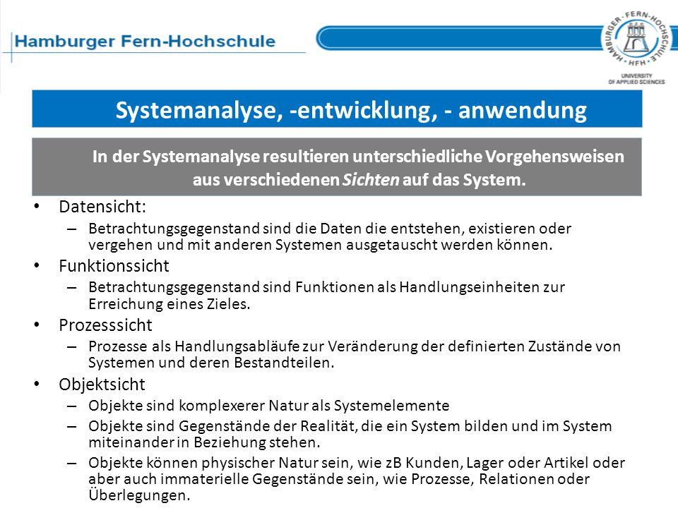 Systemanalyse, -entwicklung, - anwendung In der Systemanalyse resultieren unterschiedliche Vorgehensweisen aus verschiedenen Sichten auf das System. D