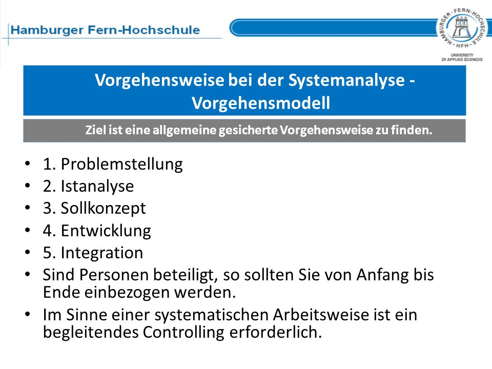 Vorgehensweise bei der Systemanalyse - Vorgehensmodell Ziel ist eine allgemeine gesicherte Vorgehensweise zu finden. 1. Problemstellung 2. Istanalyse