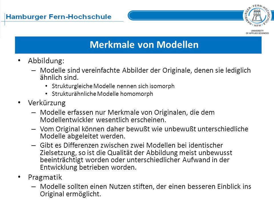 Merkmale von Modellen Abbildung: – Modelle sind vereinfachte Abbilder der Originale, denen sie lediglich ähnlich sind. Strukturgleiche Modelle nennen