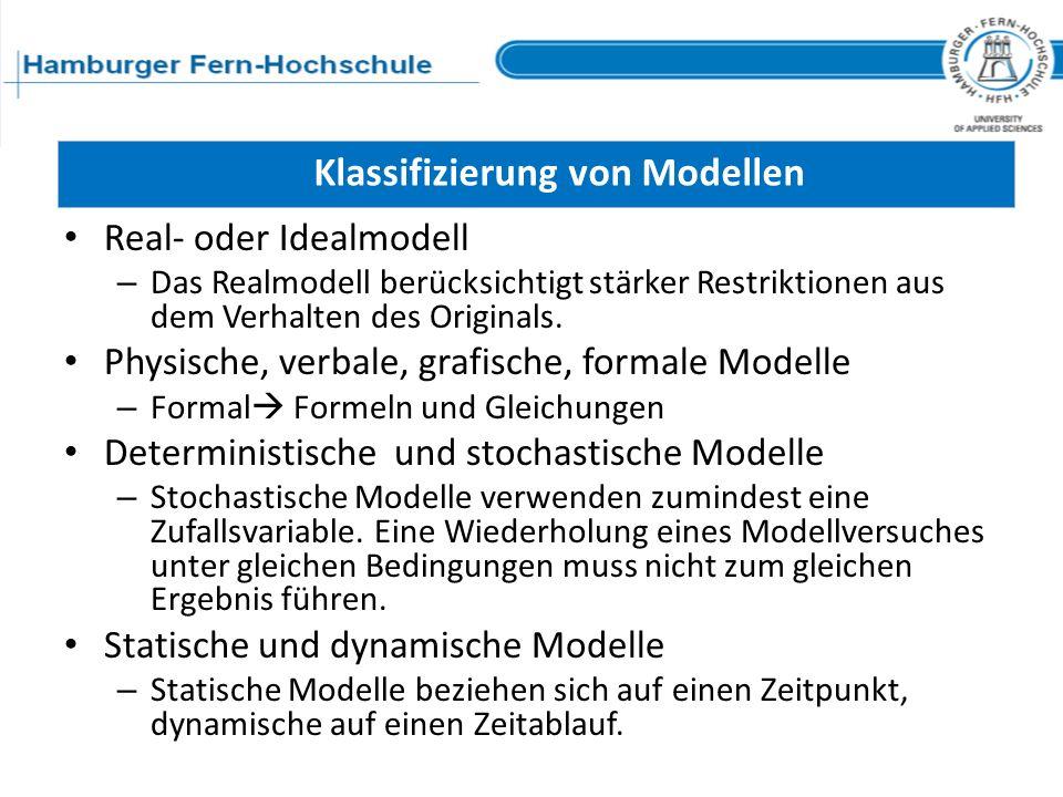 Klassifizierung von Modellen Real- oder Idealmodell – Das Realmodell berücksichtigt stärker Restriktionen aus dem Verhalten des Originals. Physische,