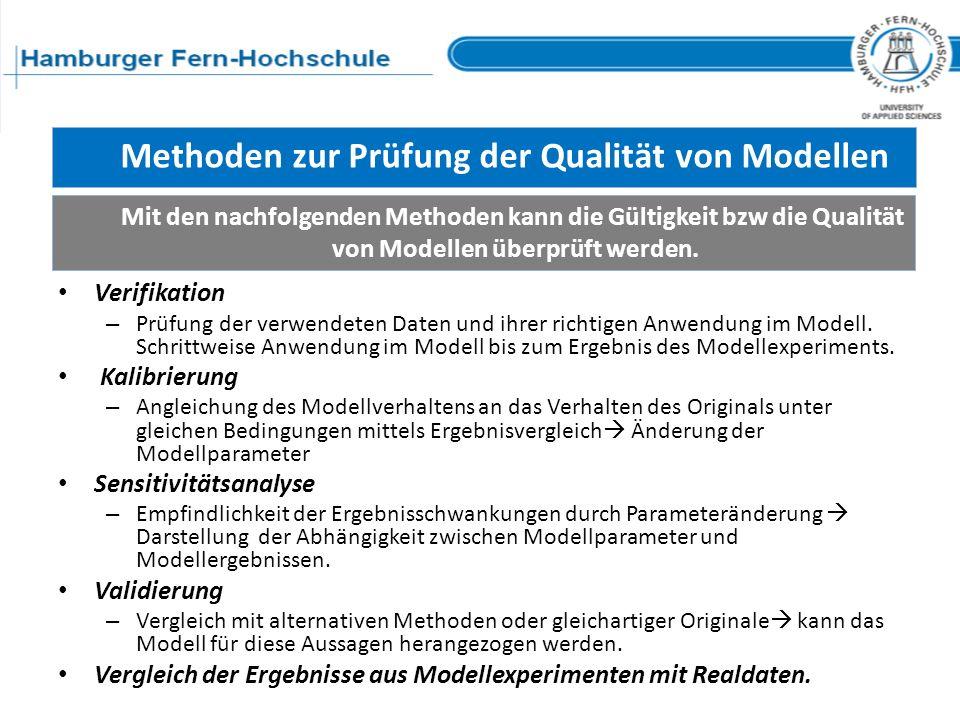 Methoden zur Prüfung der Qualität von Modellen Mit den nachfolgenden Methoden kann die Gültigkeit bzw die Qualität von Modellen überprüft werden. Veri
